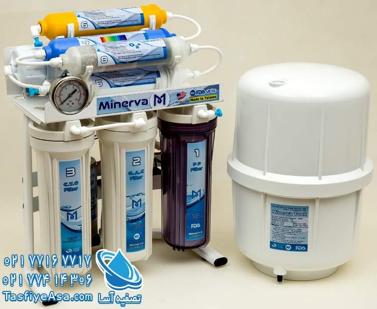 بهترین مارک دستگاه تصفیه آب خانگی تایوانی مینروا اکسیژن ساز Minerva ro8 o2plus