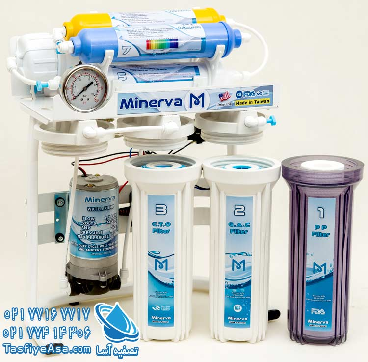 دستگاه تصفیه آب خانگی یونیزه قلیایی هفت مرحله ای مینروا Minerva ro7 alkaline